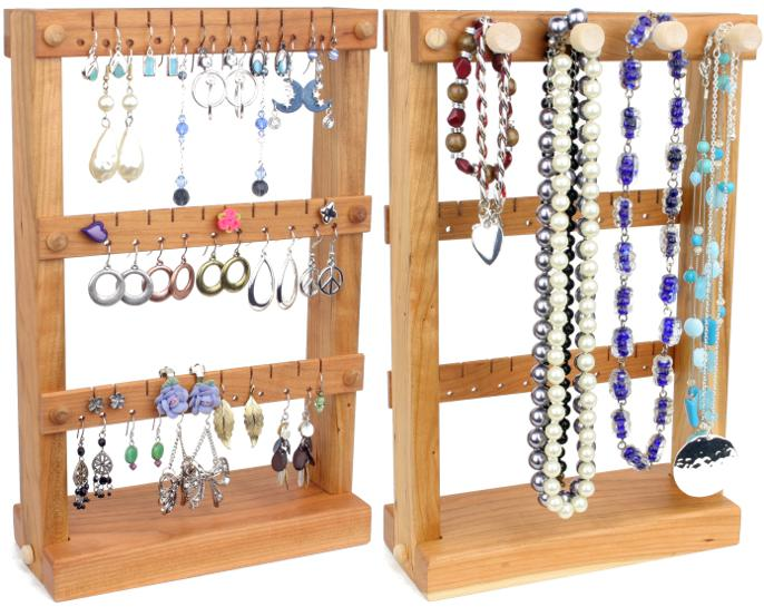 Small Cherry Jewelry Holder with Necklace Rack